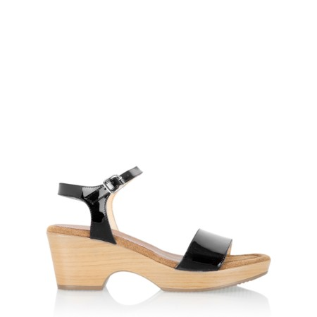 Gemini Label  Aneka Icon Patent Wedge Sandal  - Black