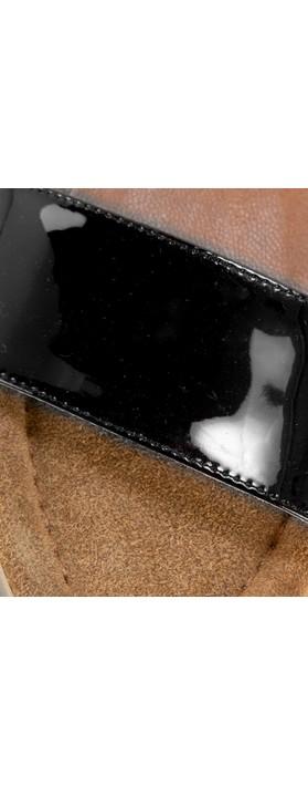 Gemini Label  Aneka Icon Patent Wedge Sandal  Nero Black