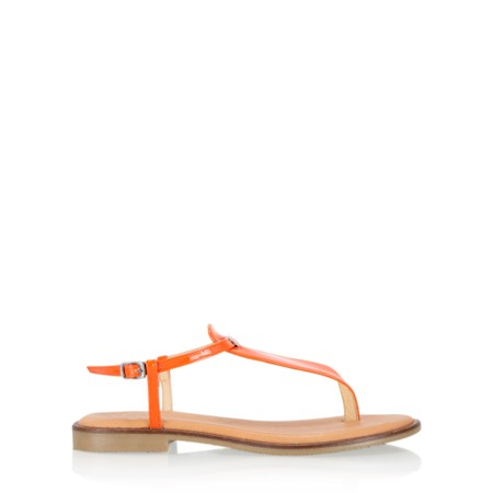 Gemini Label  Sammie Icon Patent Flat Sandal - Orange