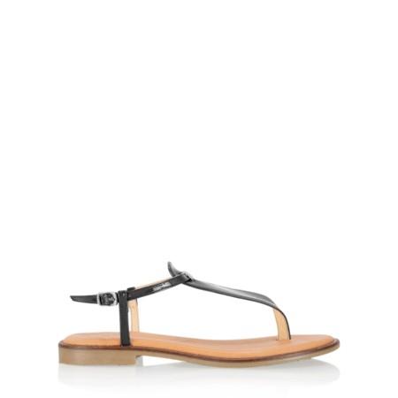Gemini Label  Sammie Icon Patent Flat Sandal - Black