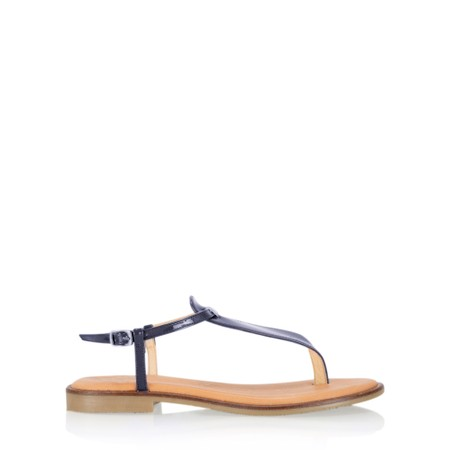 Gemini Label Shoes Sammie Icon Patent Flat Sandal - Blue