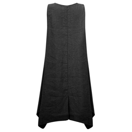 Thing Linen A-Shape Sleeveless Tunic Dress With Pockets - Black