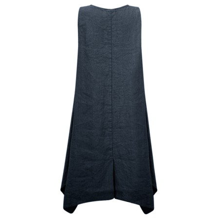Thing Linen A-Shape Sleeveless Tunic Dress With Pockets - Blue