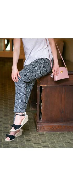 Robell Trousers Holly Smart Check Full Length Trouser Black/White