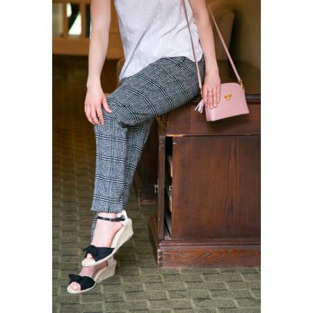 Robell Trousers Holly Smart Check Full Length Trouser - Beige