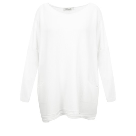 Fenella  Agnes Oversized Supersoft Knit with Pockets - Off-White