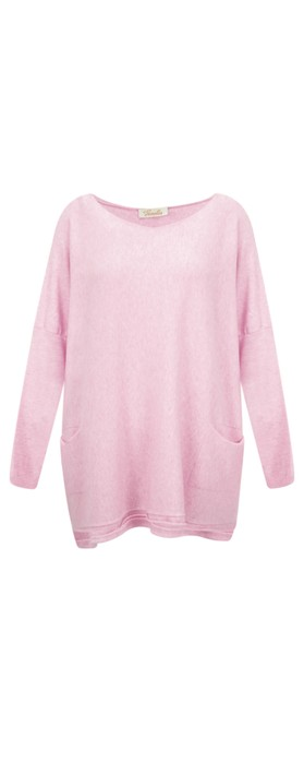Fenella  Agnes Oversized Supersoft Knit with Pockets Washed Rose F04