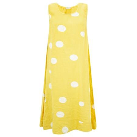 Arka Otilie Big Spot Linen Midi Dress - Yellow
