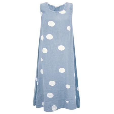 Arka Otilie Big Spot Linen Midi Dress - Blue