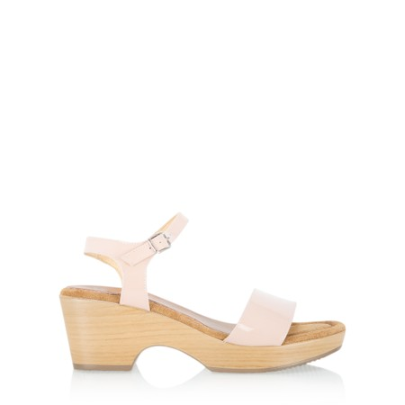 Gemini Label  Aneka Icon Patent Wedge Sandal  - Off-White