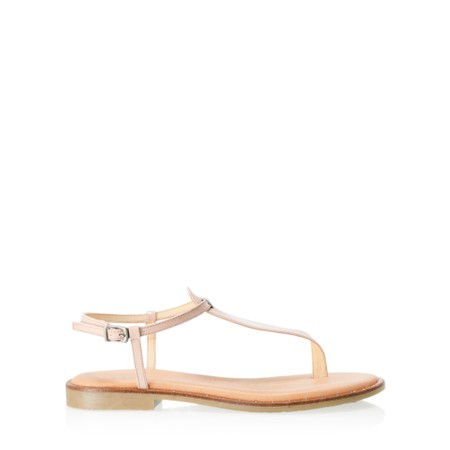Gemini Label  Sammie Icon Patent Flat Sandal - Off-White