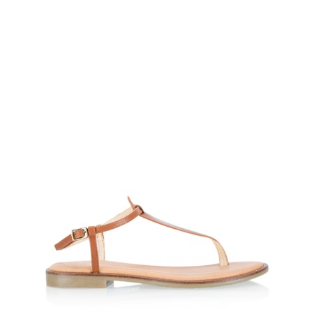Gemini Label  Sammie Icon Leather Flat Sandal - Brown