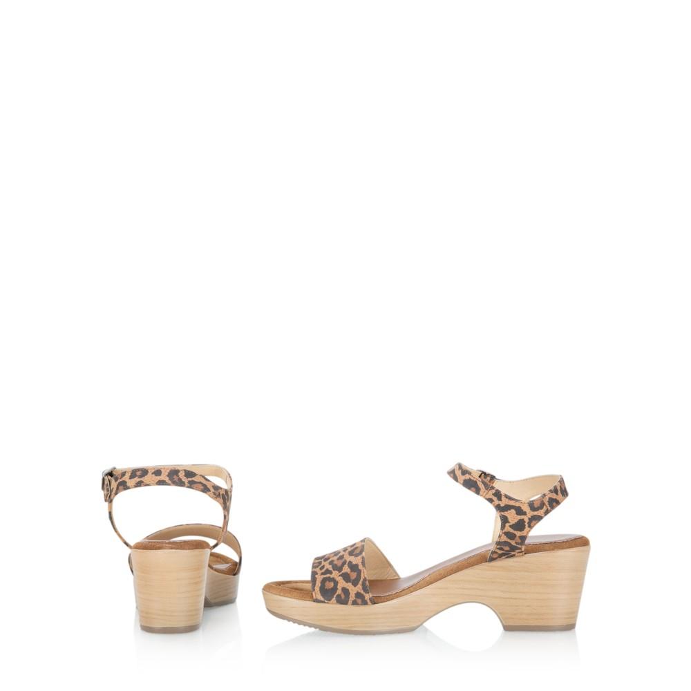 Gemini Label Shoes Aneka Icon Leopard Suede Wedge Sandal Leopardo