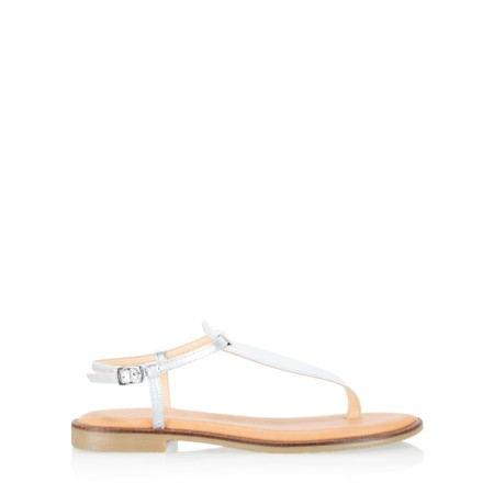 Gemini Label  Sammie Icon Metallic Leather Flat Sandal - Metallic