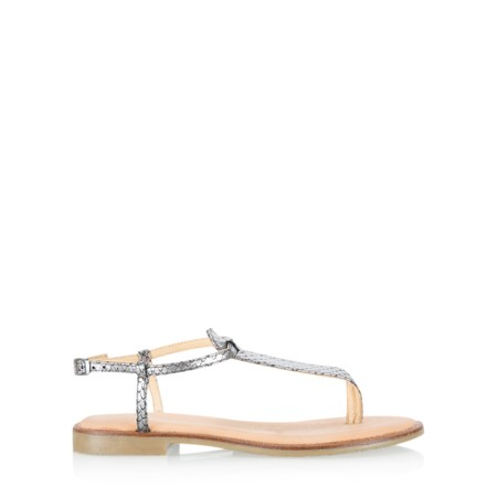 Gemini Label Shoes Sammie Icon Metallic Leather Flat Sandal - Metallic
