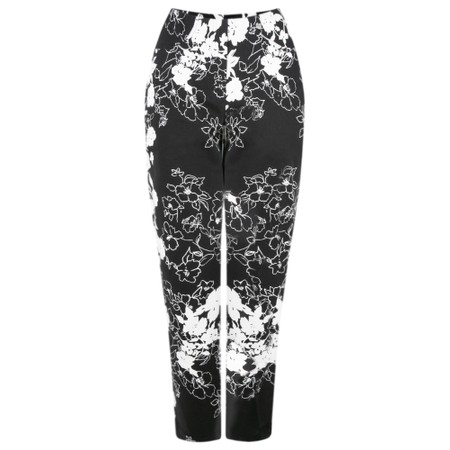 Robell Trousers Bella 09 Floral Monochrome Cropped Trouser - Beige