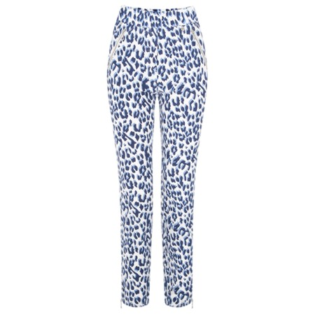 Robell Trousers Nena Ankle Zip Animal Print Trouser - Blue