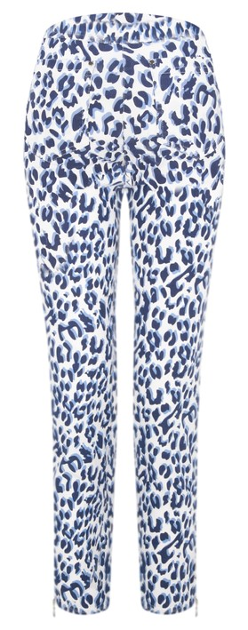 Robell  Nena Ankle Zip Animal Print Trouser Navy Animal 65