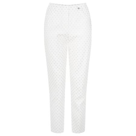 Robell Trousers Bella 09 Metallic Spot Cropped Trouser - White