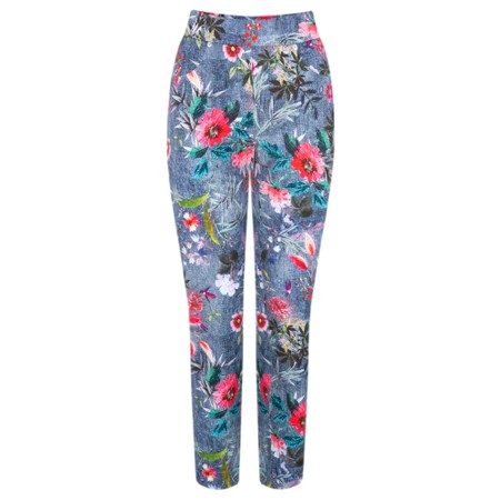 Robell  Rose 09 Floral Print Cropped Trousers - Blue