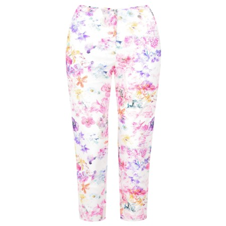 Robell Trousers Marie 07 Floral Multi Print Cropped Trouser - White