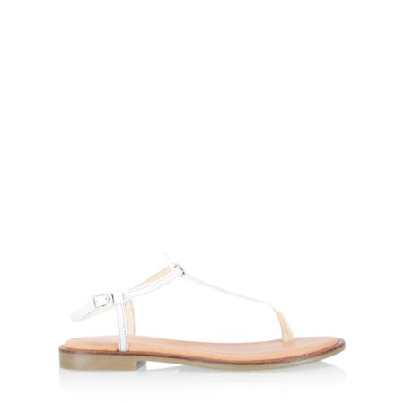 Gemini Label  Sammie Icon Leather Flat Sandal - White