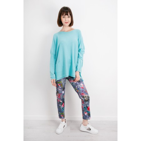 Robell Trousers Rose 09 Floral Print Cropped Denim Look Trousers - Blue