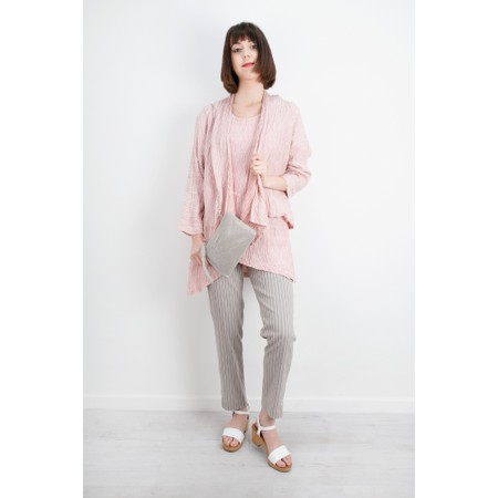Grizas Nadia Crinkle Linen Blend Waterfall Jacket - Pink