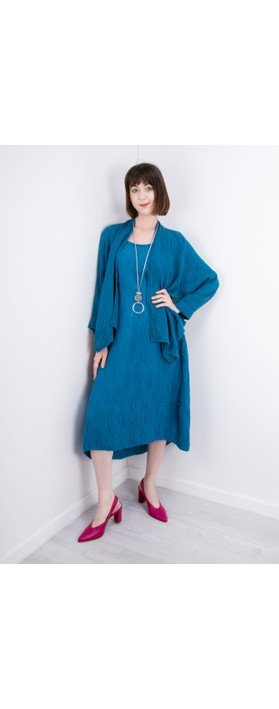Grizas Luiza Crinkle Linen Blend Dress Turquoise
