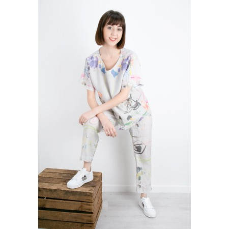Grizas Eliza Printed Linen Top - Grey