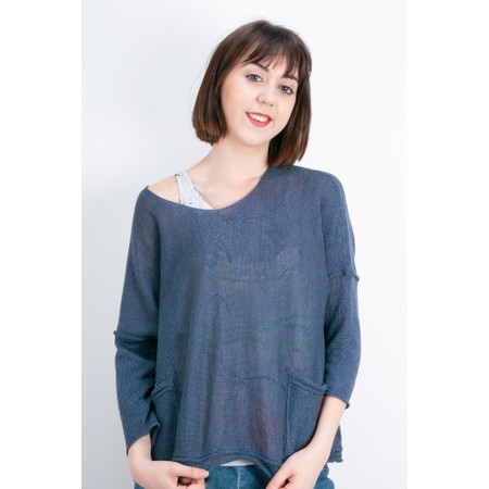 Grizas Tina Oversized Linen Knit Jumper - Blue