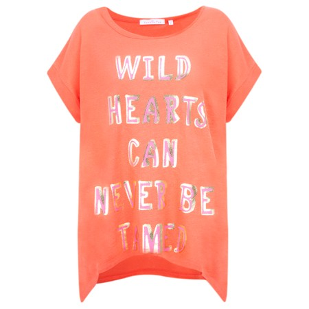 Sundae Tee Trina Slogan Linen Tee - Orange