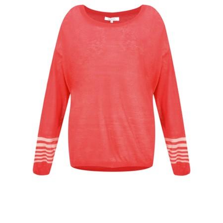 Sandwich Clothing Linen Mix Stripe Cuff Jumper - Red