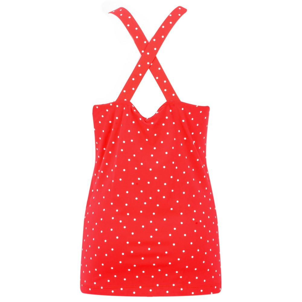 Sandwich Clothing Cross Back Dotted Vest Top Pop Red