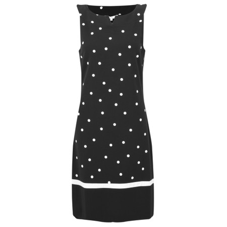Sandwich Clothing Dot Print Fitted Dress - Black