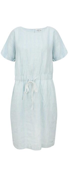 Sandwich Clothing Fine Stripe Linen Dress Forget-Me-Not