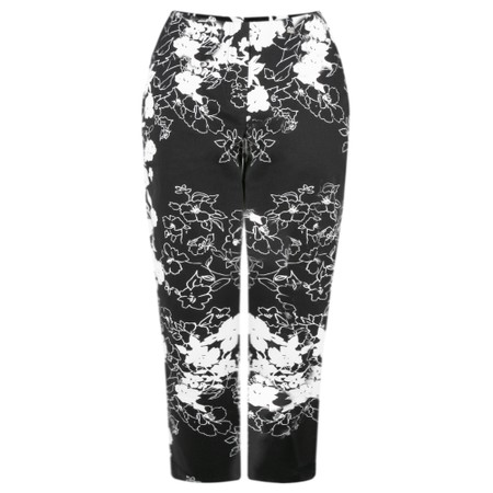 Robell Trousers Marie 07 Floral Monochrome Cropped Trouser - Beige