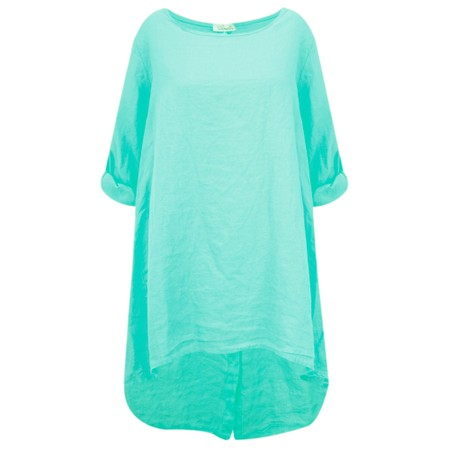 Fenella  Orla EasyFit Linen Button Back Top - Green