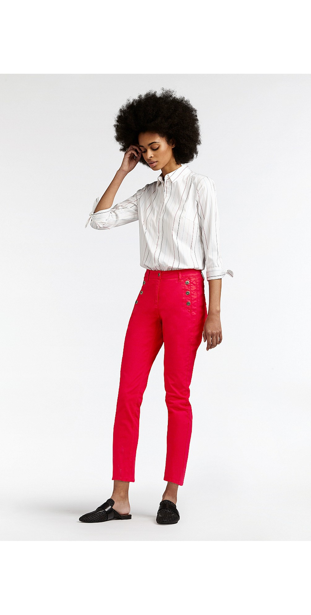 Stretch Twill Cropped Button Detail Trousers main image