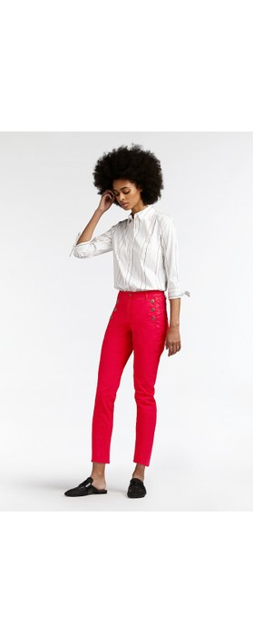 Sandwich Clothing Stretch Twill Cropped Button Detail Trousers Pop Red