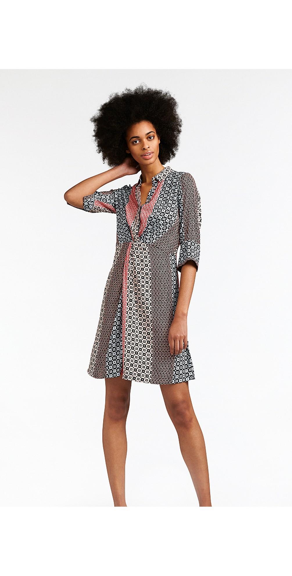 Mosaic Stripe Print Shirt Dress main image