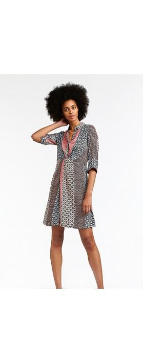 Sandwich Clothing Mosaic Stripe Print Shirt Dress Washed Rose