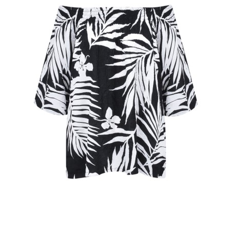 Masai Clothing Palm Print Debris Top - Black
