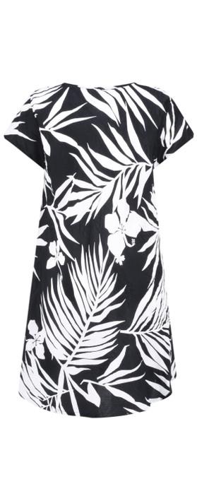 Masai Clothing Palm Print Van Tunic Black Org