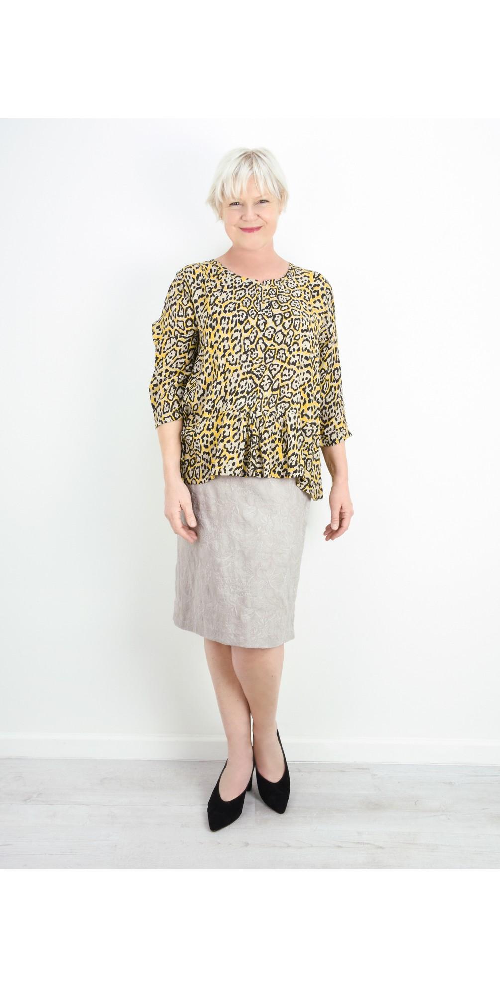 Christy Beige Jacquard Skirt main image