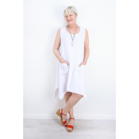 Thing Linen A-Shape Sleeveless Tunic Dress With Pockets - White