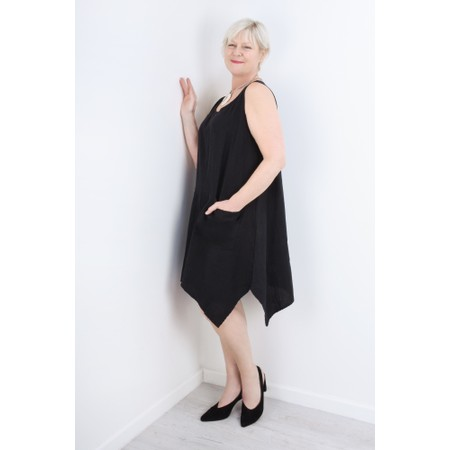 Thing Linen A-Shape Sleeveless Tunic Dress With Pockets - Black