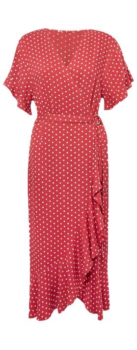 Great Plains Dana Dot Wrap Dress EarthRed