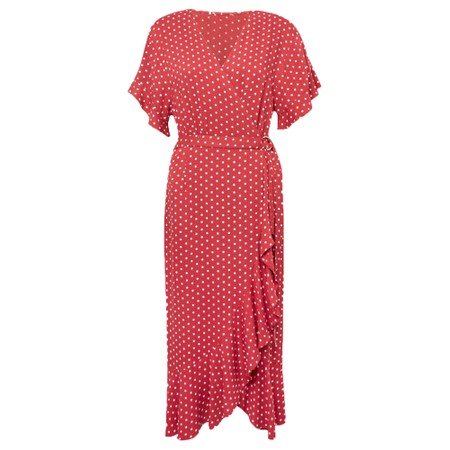 Great Plains Dana Dot Wrap Dress - Red