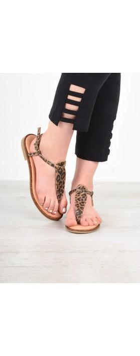 Gemini Label  Sammie Icon Suede Flat Sandal Leopardo